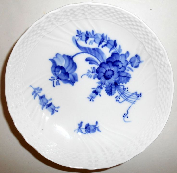 "ROYAL COPENHAGEN Blue Flowers Braided Low Footed Dish Compote 7"" Vintage EUC   #ROYALCOPENHAGEN"