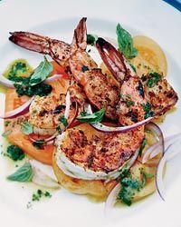 Barbecued Spiced Shrimp with Tomato Salad // More Fabulous Grilled Shrimp: http://fandw.me/kkJ #foodandwine