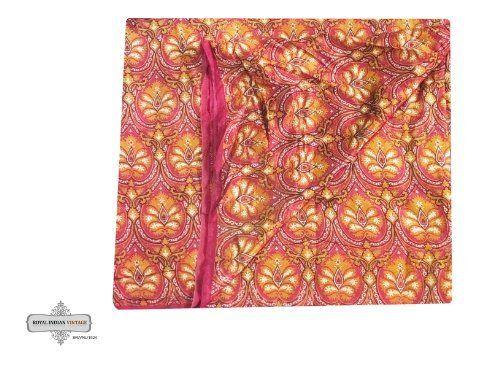 decoración del hogar sari época antigua mezcla de seda de costura impreso floral usado reciclado marrón tela cortina cubra 5yd sari mujeres indígenas envuelven la tela del vestido hecho a mano: Amazon.es: Hogar