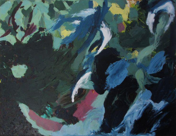 """Plantas y flujos"", arílico sobre tela, 70 x 90 cm, 2015. Anita Varas S. #abstractart #onsale #painting #art"