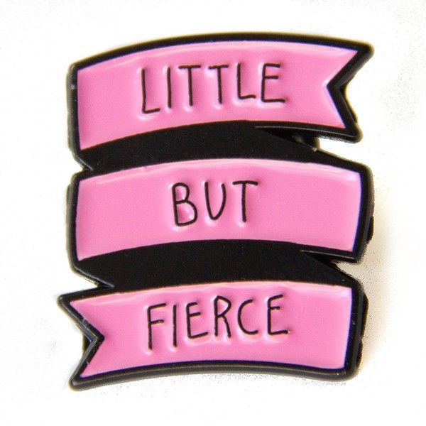 Ectogasm Little But Fierce Feminist Enamel Pin in Black and White