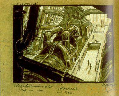 Metropolis 1927 - Film Archive - Erich Kettelhut Drawings 1925-6. Metropolis - Hall of the Machines: View from Above, gouache and coloured pencil on cardboard, 27.5 x 35.5 cm. (c) Filmmuseum Berlin - Deutsche Kinemathek.