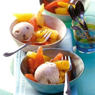 Malaga-Eis mit Melonen-Chili-Salat