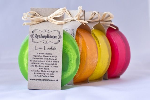 Handmade Fruity Loofah Soaps in 4 gorgeous scents. Lime and Kiwi,Grapefruit and Yuzu,Orange Peel and Lemongrass £4.20