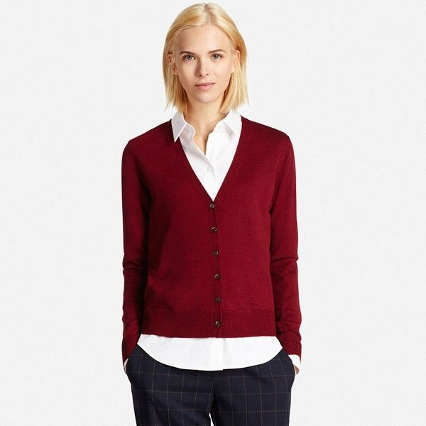 UNIQLO Women's Extra Fine Merino Wool V-Neck Cardigan (755 MXN) ❤ liked on Polyvore featuring tops, cardigans, deep v neck top, deep v neck cardigan, slimming tops, v-neck cardigan and v neck cardigan