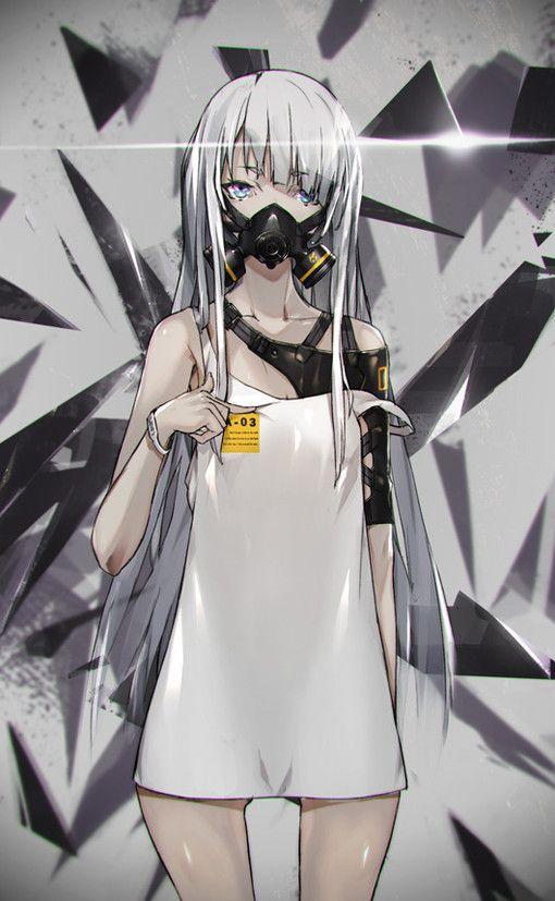 animé, fille animée, masque à gaz, cheveux blanc
