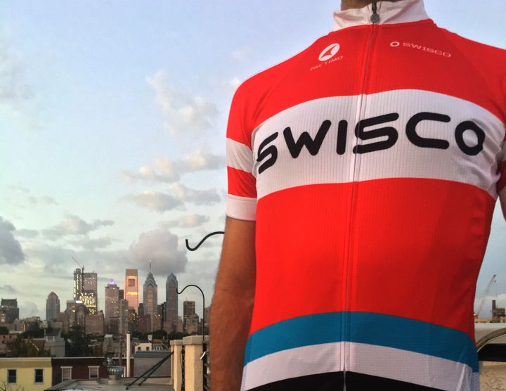 Members of Team SWISCO are suiting up to take the ride of their lives. Our new jerseys have arrived, and we are geared up for the Bike MS: City to Shore Ride 2017 set for Sept. 23. Designed by team member and SWISCO.com art director Mike Tucci,  the throwback jersey has a retro look with its font and blue-colored stripe resembling SWISCO's original sign from the 1970s. Funds raised from the 100-mile bike ride will help drive Multiple Sclerosis research