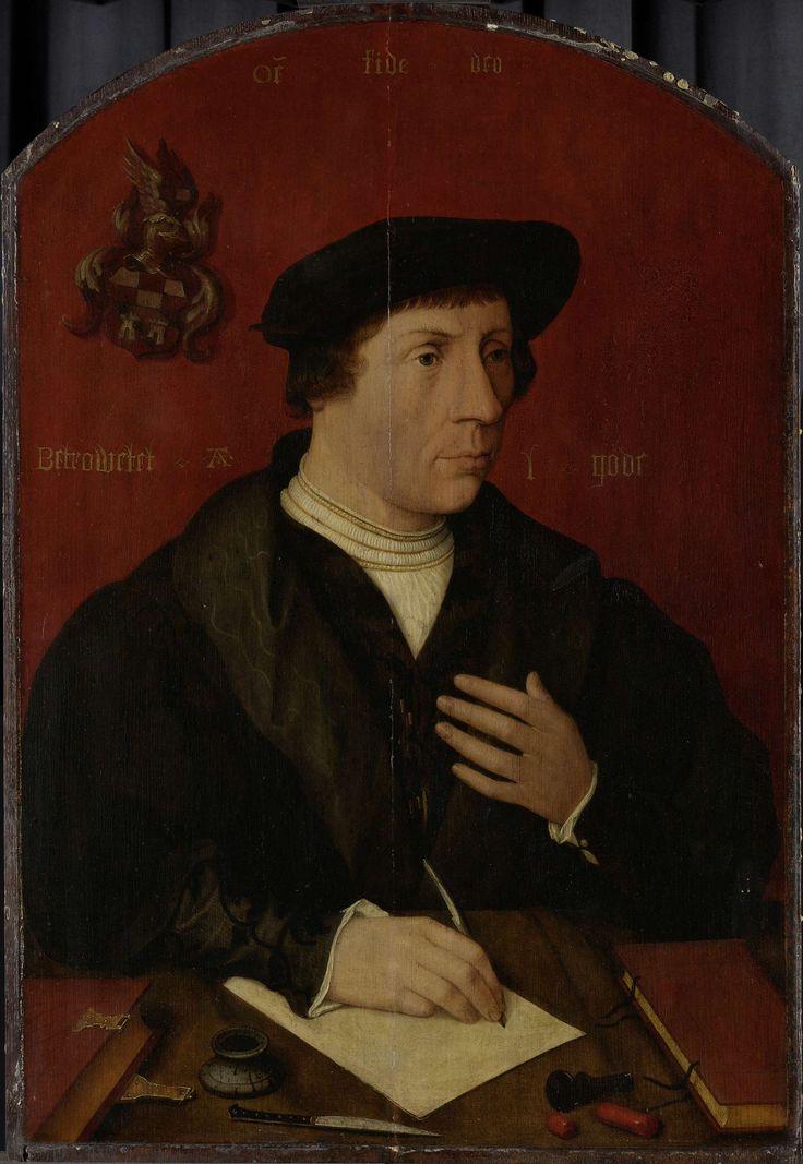 Anonymous | Portrait of a man, Anonymous, Jan Jansz Mostaert, 1535 | Portret van een man. Ten halven lijve, schrijvend op een blad papier, achter een tafel. Op tafel liggen enkele boeken, een mes en een inktpot. Op de achterwand het familiewapen van de geportretteerde.