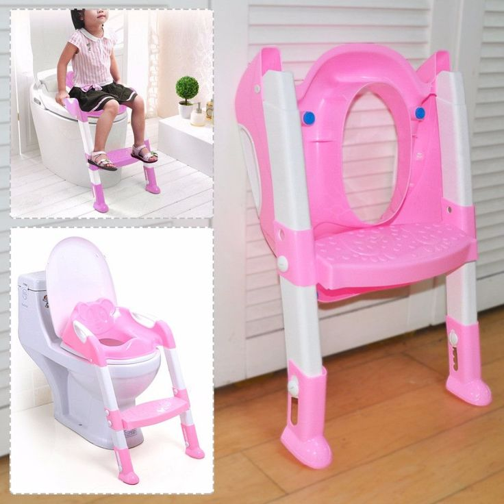 New Set Pink Baby Toddler Potty Toilet Training Pedestal Safety Seat Chair Non-slip Step