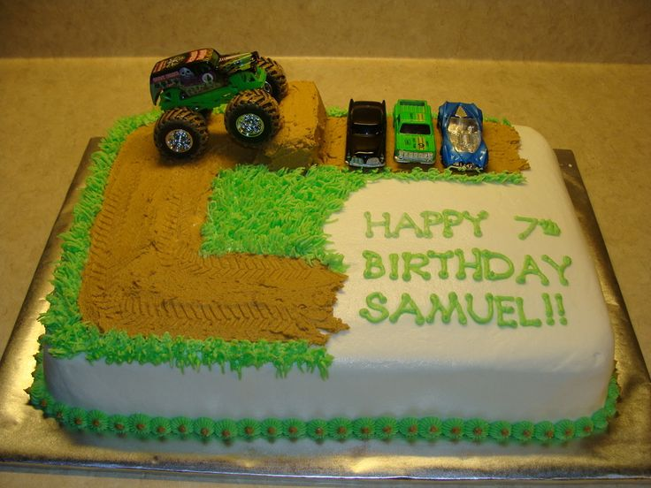 monster truck cakes for boys | Our 7 year old wanted a monster truck birthday cake, so that's what he ...