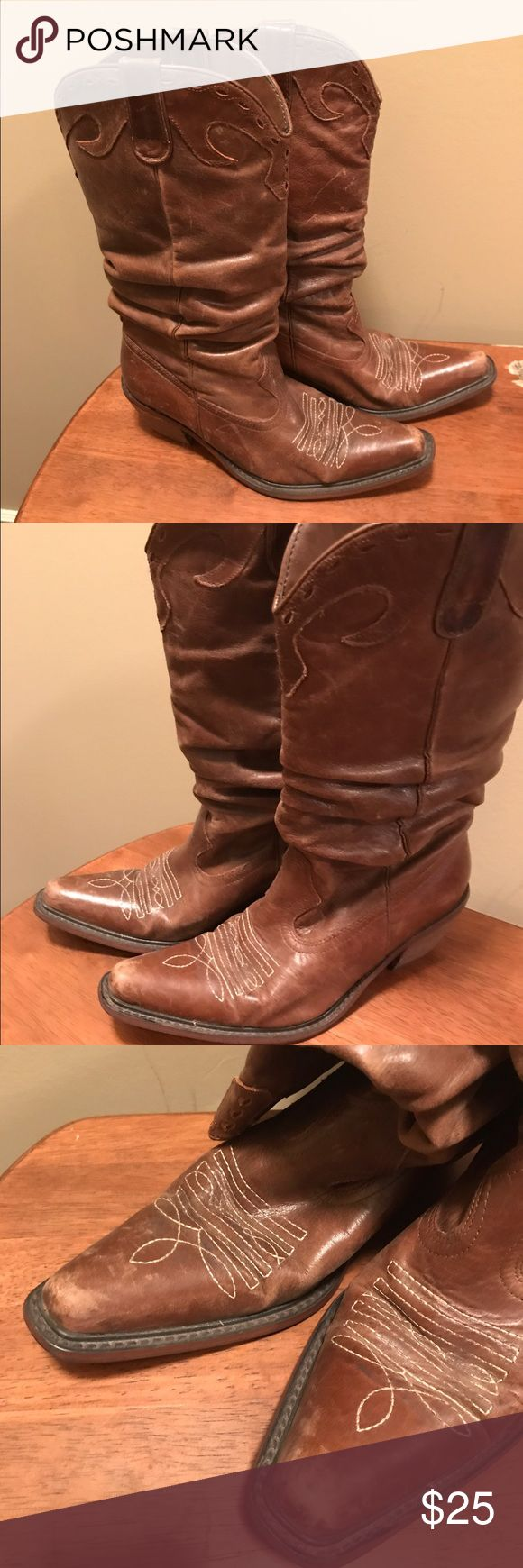 Used saddle style boots Blonde Steve Madden saddle boots.  Still has lots of wear left! Steve Madden Shoes Heeled Boots