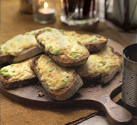 Rarebit toasts. This comforting snack is super-quick and easy, perfect for suppertime snacking.
