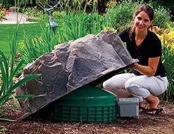 Fake boulder to cover septic tank covers
