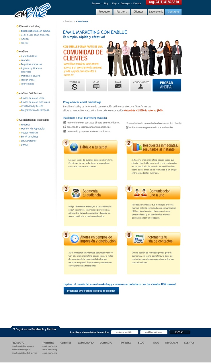 Interior de sitio web para emBlue