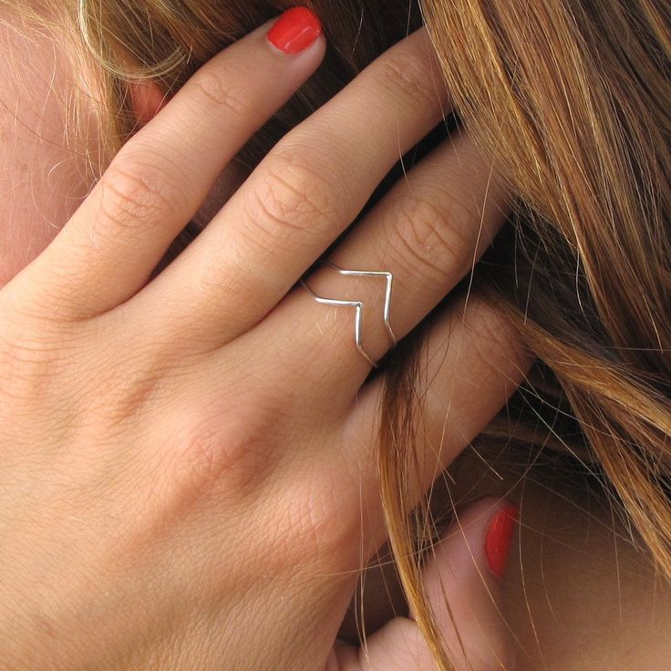 Sterling silver chevron rings can be worn in singles or stacked together. | Stackable rings from Tangerine Jewelry Shop