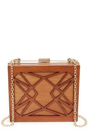 Cute Brown Clutch - Wood Clutch - Brown Purse - $49.00