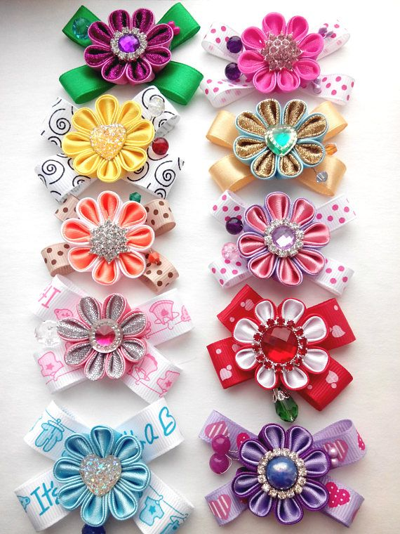 Unique styled dog bows, holiday dog bows, girl dog bows and boy dog bows, dog bows for all occasions.Set of 10, Dogs hair bows,Pink Black Orange Blue,Small bow hair ties, hair bows yorkie  Made with love  The size of the bows approximately 1,69 inches wide and 1,38 inch high. Each bow is