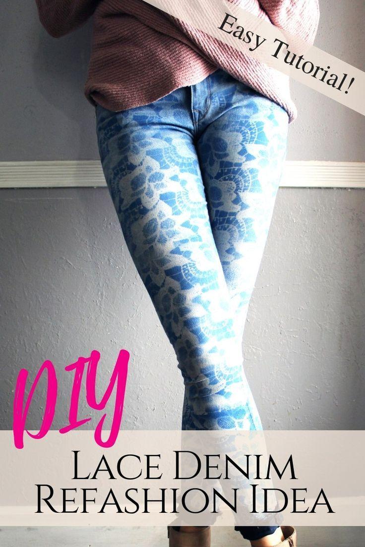 10 Minute DIY Lace Denim Jeans Refashion Tutorial | Jeans