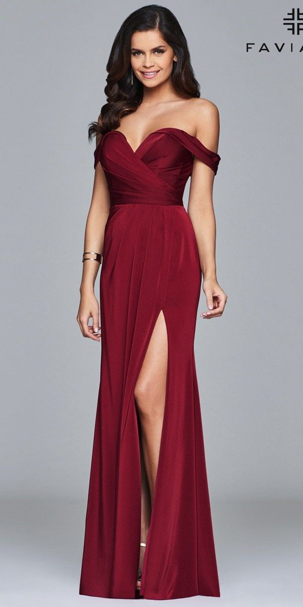 ae4b55513b54 Off the Shoulder Satin Prom Dress with Slit . Colors  Wine