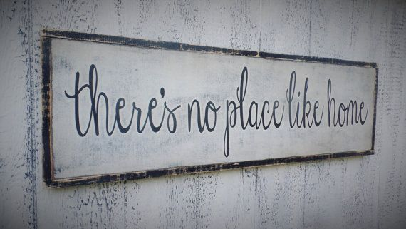 There's No Place Like Home Wood Sign Inspirational Wooden Sign Large Wooden Sign Typography Word Art Distressed Sign Christmas gift