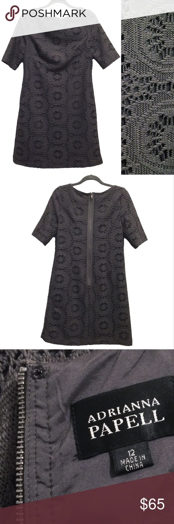 """Adrianna Papell crochet / lace shift dress Dark warm grey / charcoal crochet / lace dress with liner. Professional and stylish. Holiday party season perfection. Circa 2010/2011. Model pic from Nordstrom website to show drape and fit only. No stretch to thick fabric. Fully lined. Minor pull but easy fix/not visible when worn. (see pic) Short sleeves, darts on chest for a fitted look to chest. Perfect for work.   Lay flat measures approx: pit to pit 18.5"""", waist 20.5"""", neck 10.5"""", length…"""