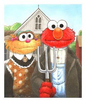 Grant Wood American Muppet Gothic On Sesame Street