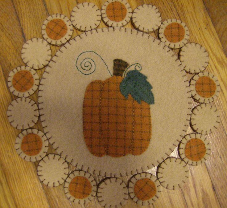Pumpkin Wool Penny Rug: