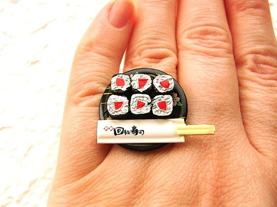 Food Sushi Ring Tuna Sushi And Chopsticks by SouZouCreations, $12.50