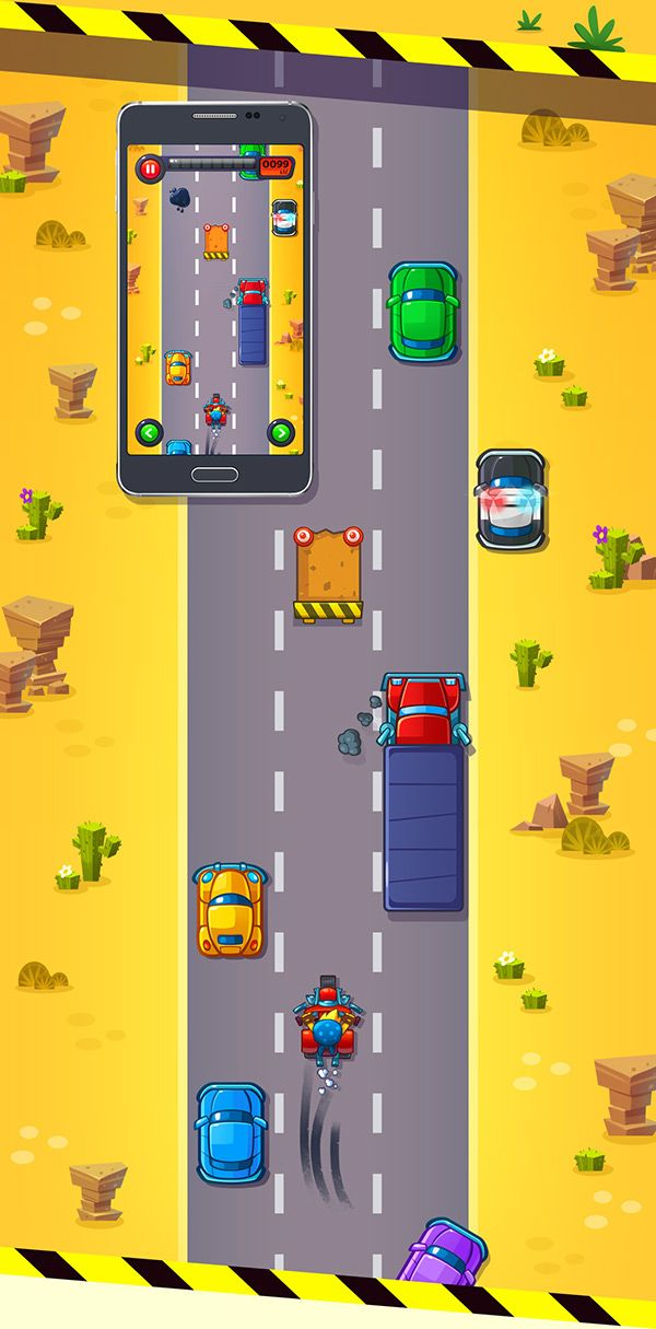 Cute game for kids. Professional game art. Runner. Bike. Car. Race. Android app.
