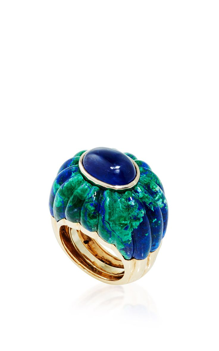 Cabachon Sapphire, Fluted Azurmalachite, and 18K Gold Ring - David Webb Resort 2016 - Preorder now on Moda Operandi