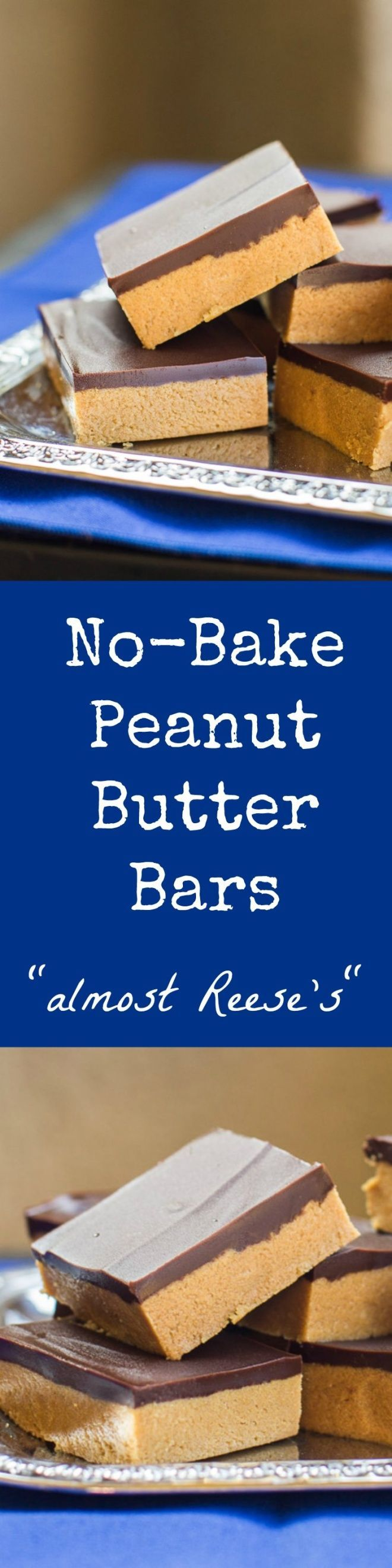 "No-Bake Peanut Butter Bars take only 5 ingredients and 10 minutes (plus chilling time). My Grandma calls them ""Almost Reese's"" for good reason!"