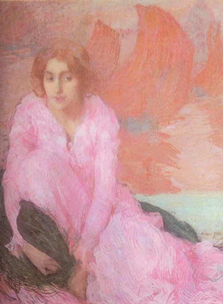 Dame in Rose von  Edmond François Aman-Jean