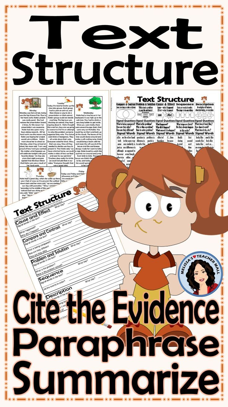 worksheet Ereading Worksheets Main Idea best 25 text structure worksheets ideas on pinterest science summarize paraphrase cite the evidence activity katies week