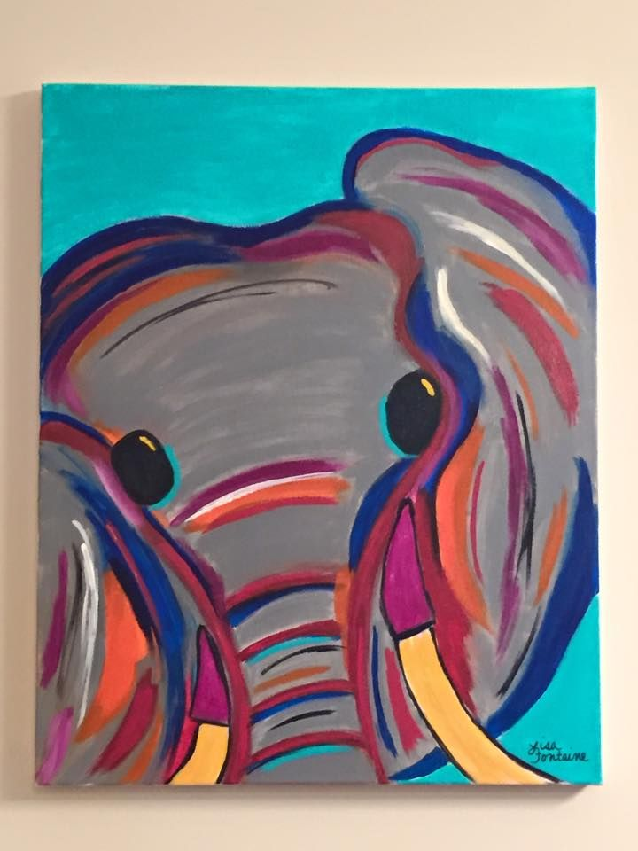 Acrylic Painting On Canvas By Lisa Fontaine Elephant