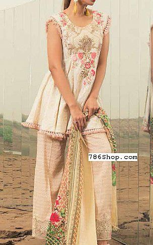 Off-White Linen Suit | Buy Rangrasiya Pakistani Dresses and Clothing online in USA, UK
