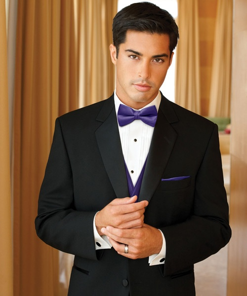 Purple bow tie vest for groom adding color to groom for White shirt for tuxedo
