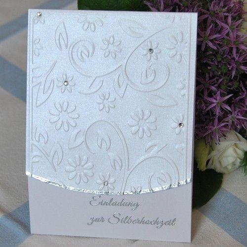 Einladung Adina mit Strass und geprägten Blumen - Einladungen - Silberhochzeit - Es wird gefeiert! - Cardlove.de