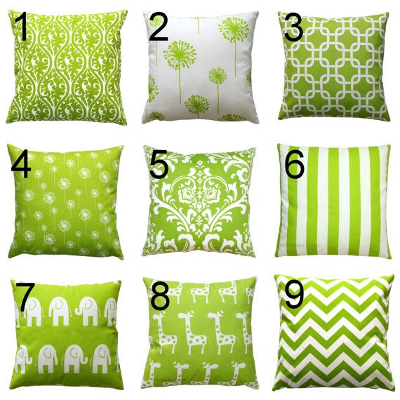 Spring Pillows- Premier Prints Green Pillow Cover- 16x16 inches- Zippered Pillow- You Choose- Decorative Throw Pillows- Cushion Cover