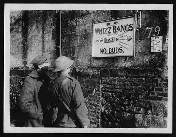 All sizes | Board to advertise a theatrical party which visits the trenches, via Flickr.