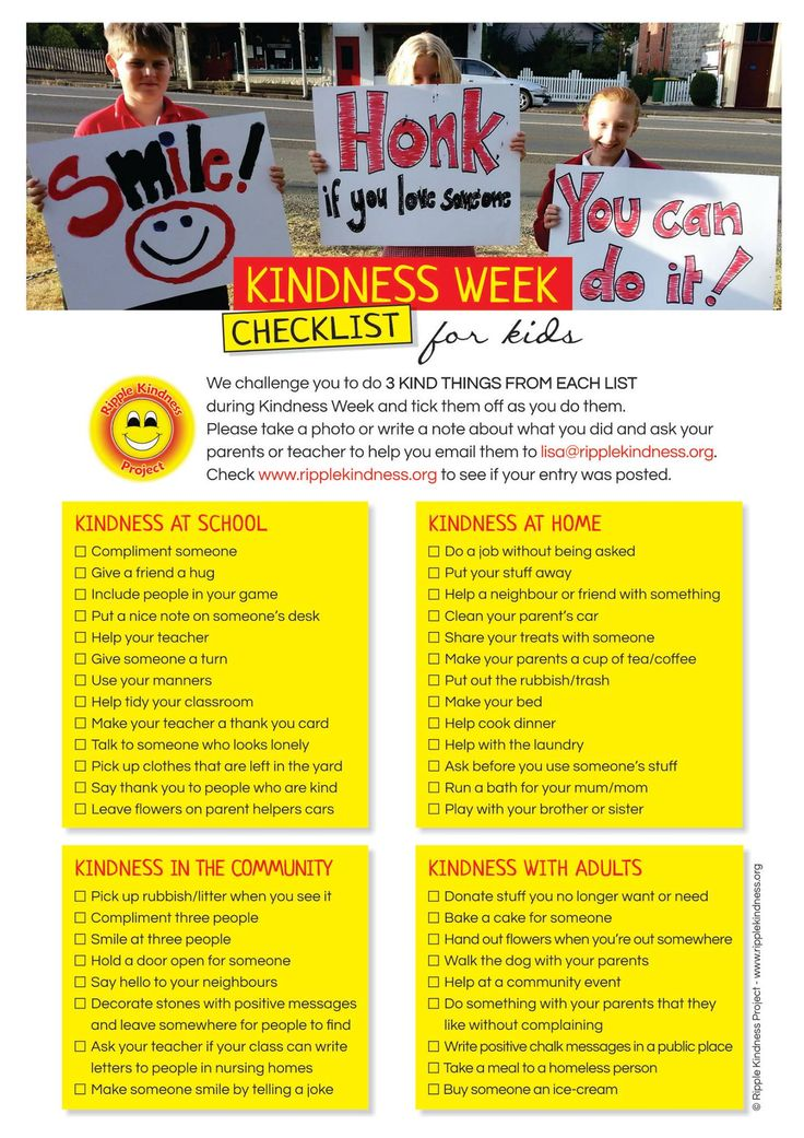 Our Children's Checklist for Kindness Week. Download here