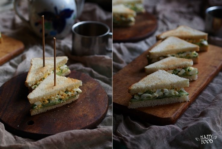 Английский сендвич с яйцом и огурцом