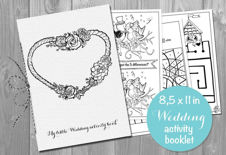 Wedding Activity coloring Book Booklet for Kids - Printable pdf - Children's Activity Sheets- Printable 8.5x11 PDF File by KalinaPaperShop on Etsy https://www.etsy.com/listing/266499355/wedding-activity-coloring-book-booklet