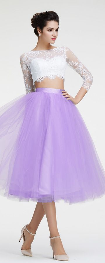 Lavender two piece homecoming dresses long sleeves prom dresses
