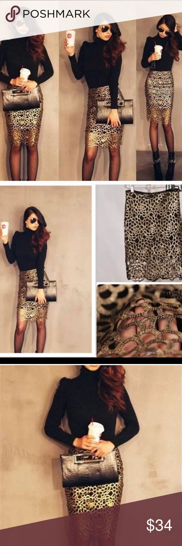 Cut Out Floral Black Gold Pencil Skirt New without tags Skirts Pencil