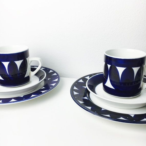 Price for 2 sets: Vintage Arabia Finland ceramic coffee cups