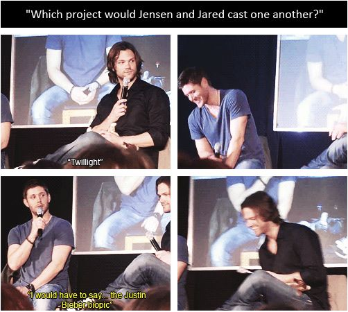Jared & Jensen on which movies they would cast each other in. <3 #SupernaturalCast #J2