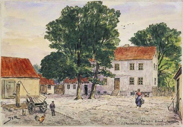 Dyvekes Gaard - Beboelseshus til Røde Gaard i 1902. Akvarel af Janus Laurentius Ridter