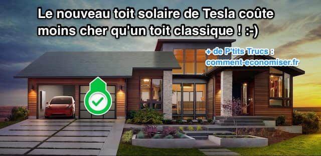 La révolution énergétique serait-elle enfin en marche ? C'est ce que l'on pourrait penser après l'annonce choc de Elon Musk. En effet, il a révélé que les nouveaux toits solaires de Tesla coûteront moins cher que les toits classiques !  Découvrez l'astuce ici : http://www.comment-economiser.fr/toits-solaires-tesla-coutent-moins-chers-que-toit-classique.html?utm_content=bufferb4b90&utm_medium=social&utm_source=pinterest.com&utm_campaign=buffer
