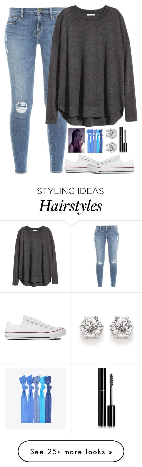 """Untitled #548"" by evieleet on Polyvore featuring Frame Denim, H&M, Converse and Chanel"