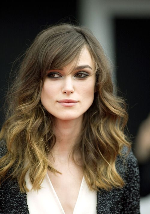 Keira Knightley's hair with honey colored highlights. Not in love with this look, just love Keira in general as an actress